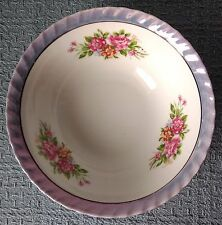 "Yamatsu ~ Japan ~ 7"" SOUP / CEREAL BOWL ~ Blue Lustre Scalloped Rim ~ Moss Roses"
