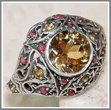 2CT Citrine & Opal 925 Solid Sterling Silver Art Deco Filigree Ring 6-US, L-UK