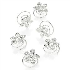 6 Silver Flower Crystal Centre Hair Jewels Swirl Twist Coils Bridal Accessories