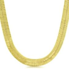 "30"" HERRINGBONE Mens Yellow Gold Plated 11 mm Wide Chain Necklace Man Jewelry"