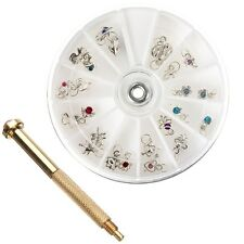New Nail Art Charm Piercing Tip Hand Drill Hole Pierce Tool + 24 Pendants Dangle