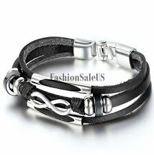 Unisex Mens Womens Love Infinity Symbol Leather Bracelet Strap Charm Cuff Bangle