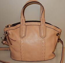 New orYANY Cassie Pebbled Leather Mini Convertible Satchel Bag in Almond