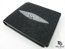 PELGIO Real Genuine Stingray Skin Leather Men's Bifold Credit Card Wallet Black