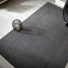 Sienna Plain Centre Bordered Handmade Wool Rugs In Grey 160X230CM Large