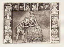 JOHN KAY Original Antique Theatre Etching. Mr. Clinch and Mrs. Yates, 1785