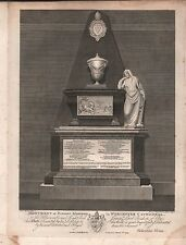 1793 ANTIQUE PRINT - WORCESTER CATHEDRAL-MONUMENT OF BISHOP MADDOX