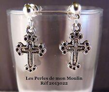 1 Paire Boucles d'Oreille Croix Travaillée / 2013022