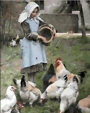 Painting by Number Kit Lassock Feeding To Chickens In The Village DIY BB7344