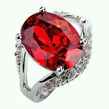 Neu Herren Damen Rot Granat Topas Edelstein Sterlingsilber 925 Ring Gr.19,7 mm