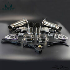 """2.5"""" Dual Exhaust Catback Downpipe Cutout E-Cut Valve System Switch Control Kit"""