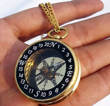 Brass Locket Compass Necklace Maritime Steampunk Antique Vintage Gift Compass