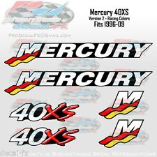 40XS Mercury 40hp V2 Racing Outboard Reproduction Decal 6 Pc. Vinyl Decals