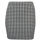 Womens Celebrity Ladies Dogtooth Print Ladies Mini Party Skirt Plus Size SM-XXL
