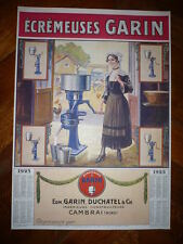 AFFICHE ANCIENNE AGRICULTURE ECREMEUSES GARIN CAMBRAI 1925 AGRICOLE VINTAGE