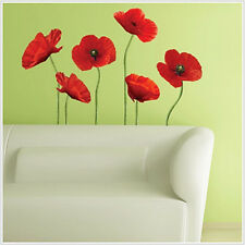 POPPIES red GIANT wall stickers 6 tall flowers decals 42 inches tall room decor