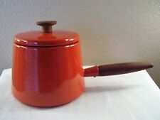 Mid Century COPCO Michael Lax HOLLAND Orange ENAMELWARE Fondue POT Teak Handle