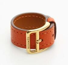 Hermes Orange Leather Scarf Ring