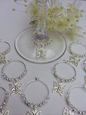 50 Wedding Crystal Wine Glass Charms With Butterflies. Favours, Weddings, Party