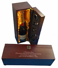 Personalised Engraved Mahogany Wooden Wine Gift Box Wedding Lined & wine tools