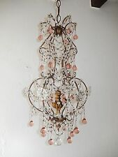 ~c 1920 French Pink Murano Drops Crystal Prisms Swags OLD Chandelier RARE ~