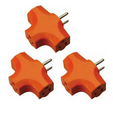 3 Pcs 3 Way Outlet Wall Triple Tap Adapter Grounded Tri Tap Electrical Splitter