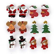 12 Wooden Pegs Clothespins Card Holder Photo Clips Christmas Theme DIY Craft