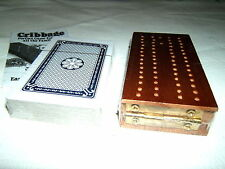 WOODEN FOLDING HINGED CRIBBAGE GAME BOARD CRIB PACK CARDS SCORING PEGS RULES NEW