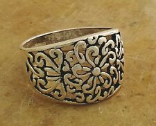 WIDE .925 STERLING SILVER FILIGREE FLORAL BAND RING size 8  style# r2080