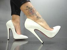 MORI MADE IN ITALY NEW HIGH SKY HEELS PUMPS SCHUHE SHOES LEATHER WHITE BIANCO 40