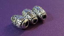 3 x Hair / Beard Bead  Viking Norse Pewter  Elder Futhark Rune Blessing Bead  a1