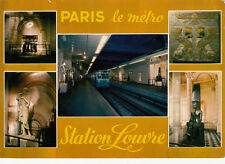 PARIS multivues le métro station louvre timbrée 1974