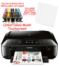 Canon MG6820 Edible Printer Bundle w/ Ink, 20 LARGE A4 Wafer Sheets & Templates