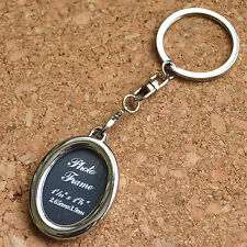 Creative Insert Picture Photo Frame Polished Oval Keyring Keychain Gift
