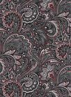 Black Red Paisley Floral Flowers fabric mid-century curtain VTG topper Valance