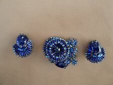 Vintage Signed Costume Jewelry - Miriam Haskell - Earring & Brooch Set - Blue