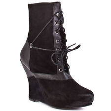 New Bacio61 Women's Natura black leather wedge  Boots sz 10  (Msr $220)