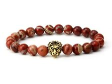 Natural Red Jasper Agate Gemstone Lion Head Face Power Energy 8MM Beads Bracelet
