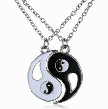 New Ying and Yang Yin BEST FRIENDS Rhinestones 2 Necklace Pendant