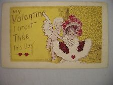 VINTAGE R.D.A. VALENTINE'S POSTCARD CUPID DELIVERING LETTER TO WOMAN W/ GREETING