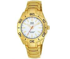 Q&Q F348-001Y Mens Gold Dive Dress Quartz Bracelet Watch New Citizen Movement