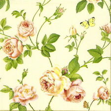 4x Single Table Party Paper Napkins for Decoupage Craft Vintage Rambling Rose