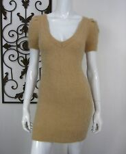 MODA INTERNATIONAL SHORT SLEEVE ANGORA SWEATER DRESS SIZE S, TAN