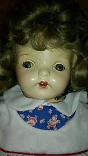 "Antique Composition Doll  21"" Blonde Sleepy Eyed Teeth Tongue"
