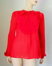 Beautiful ESCADA Ruffled Red Silk Georgette Blouse Top Sz.38 European New