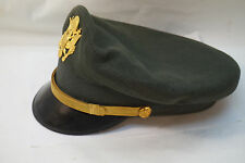 VINTAGE VIETNAM US OFFICERS VISOR HAT MILITARY ARMY MORRY LUXENBERG GREEN WOOL