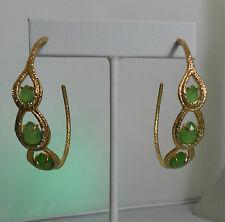 Alexis Bittar Green Onxy Gold tone Swarovski Crystal Hoop Earrings NWT $ 245