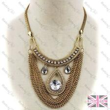BIG COLLAR NECKLACE pendant CHAINS rhinestone crystal MESH vintage gold pltd