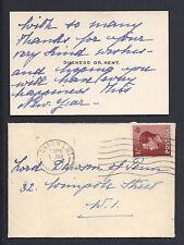 Princess Marina of Kent New Year's Calling Card 1936 to 1st Viscount Dawson