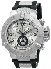 New Men's Invicta 14942 Subaqua Swiss Chrono Silver Textured Dial Poly Watch
